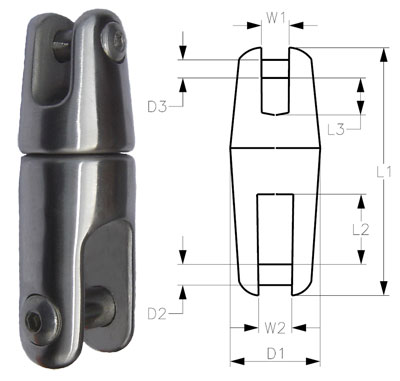 6mm-8mm A4-AISI 316 Stainless Steel Swivel Anchor Chain Connector Dimensions