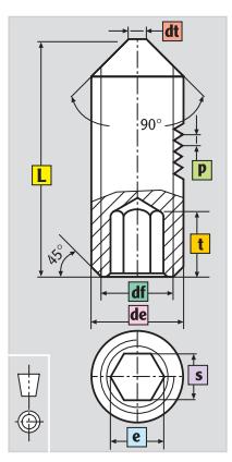 m8 x 6 din 914 socket set screw dimensions